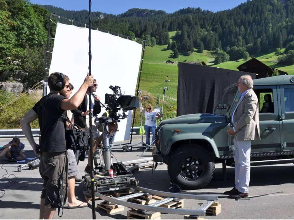 Film crew at film set in mountains